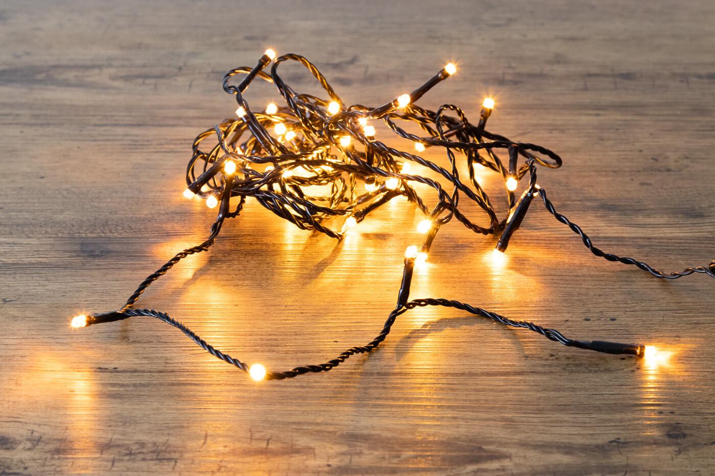 LED-Microlichterkette 40 LEDs bernstein Ip44 mit Funkel LED´s