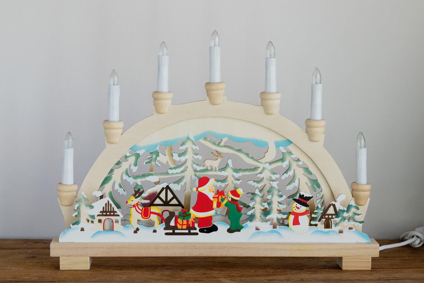 Lichterbogen Weihnachtsmann farbig 45 x 5 x 33 cm