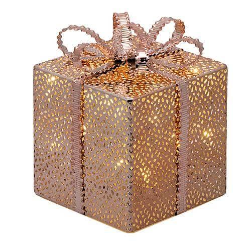 LED Geschenkpaket kupferfarben 16,5cm 49895