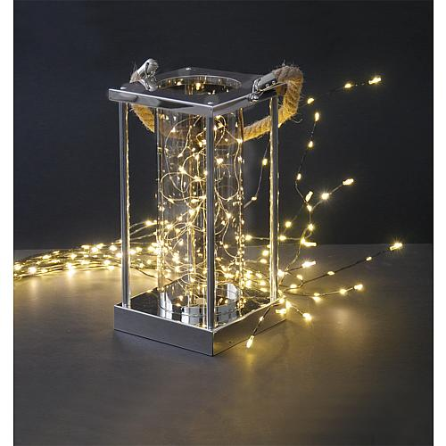 Edelstahl Laterne zum hängen und stellen 20911 mit LED Beleuchtung