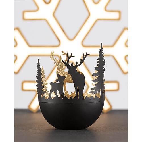 Teelichthalter Wald schwarz-gold 01476