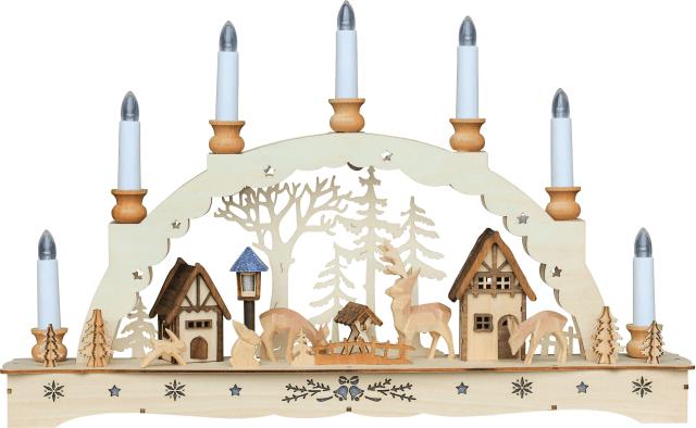 Schwibbogen Waldmotiv mit 2 Häuser, Rehe & Hasen  43 * 31 cm