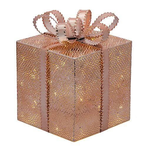 LED Geschenkpaket kupferfarben 25cm 49918