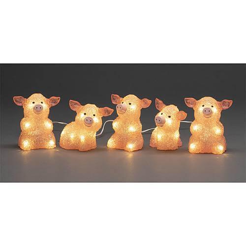 LED Acryl Schweine 5er-Set 40 ww LED außen 6232-343