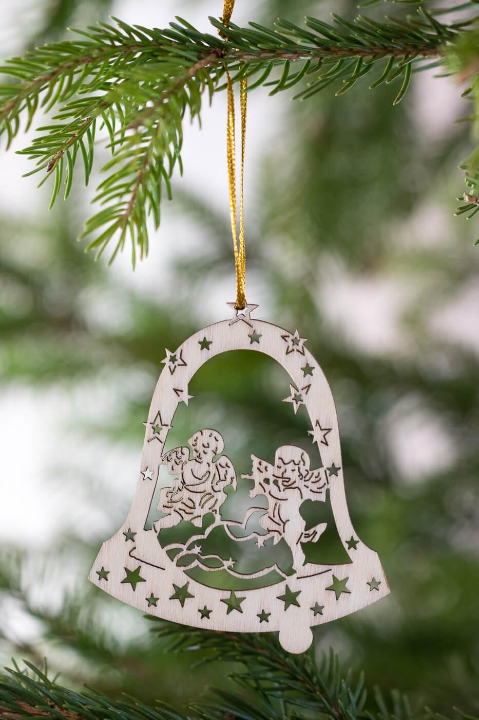Baumschmuck Engel in Glocke 8cm aus Holz 4er Set