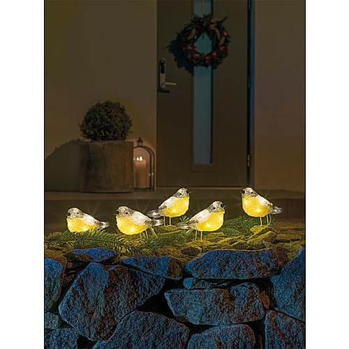 LED Acryl Vögel 5er-Set 40 warmweiss LED außen 6291-103