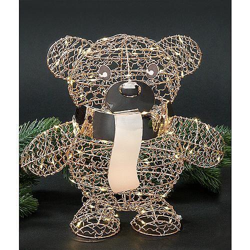 LED Teddybär stehend rosegold 68810