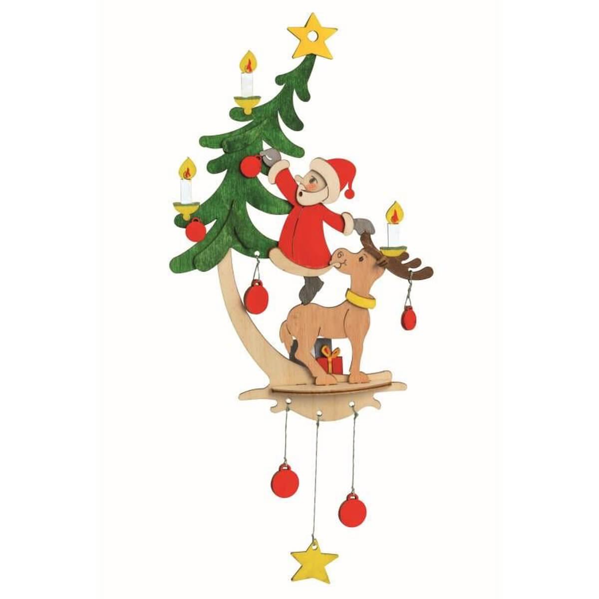 Bastelset Fensterbild Weihnachtsmann mit Elch Kuhnert 10191