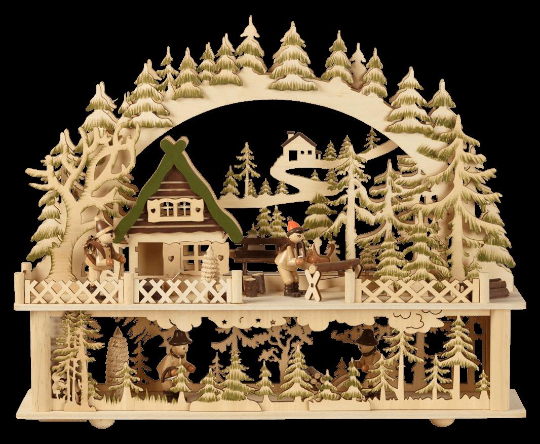 Leuchter mit Podest ca. 41*35 cm Waldhaus mit Figuren - Trafo möglich