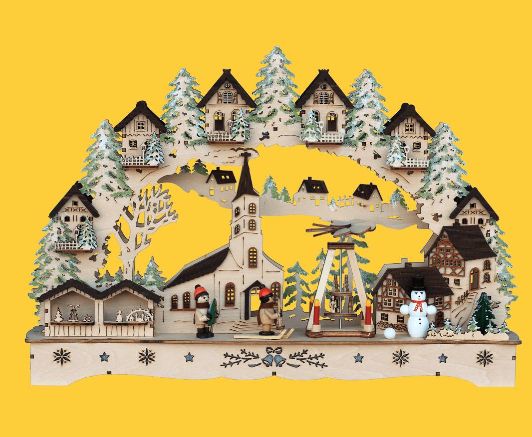 Schwibbogen Winterkirche mit Weihnachtsmarkt 44 * 8 * 27 cm -