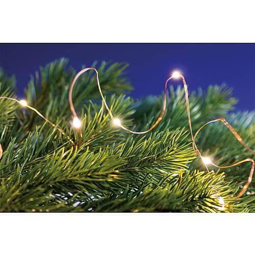 Micro LED-Lichterkette 20 fl. warmweiß, Timer kupferfarbener Draht, batteriebetrieben 3xAA