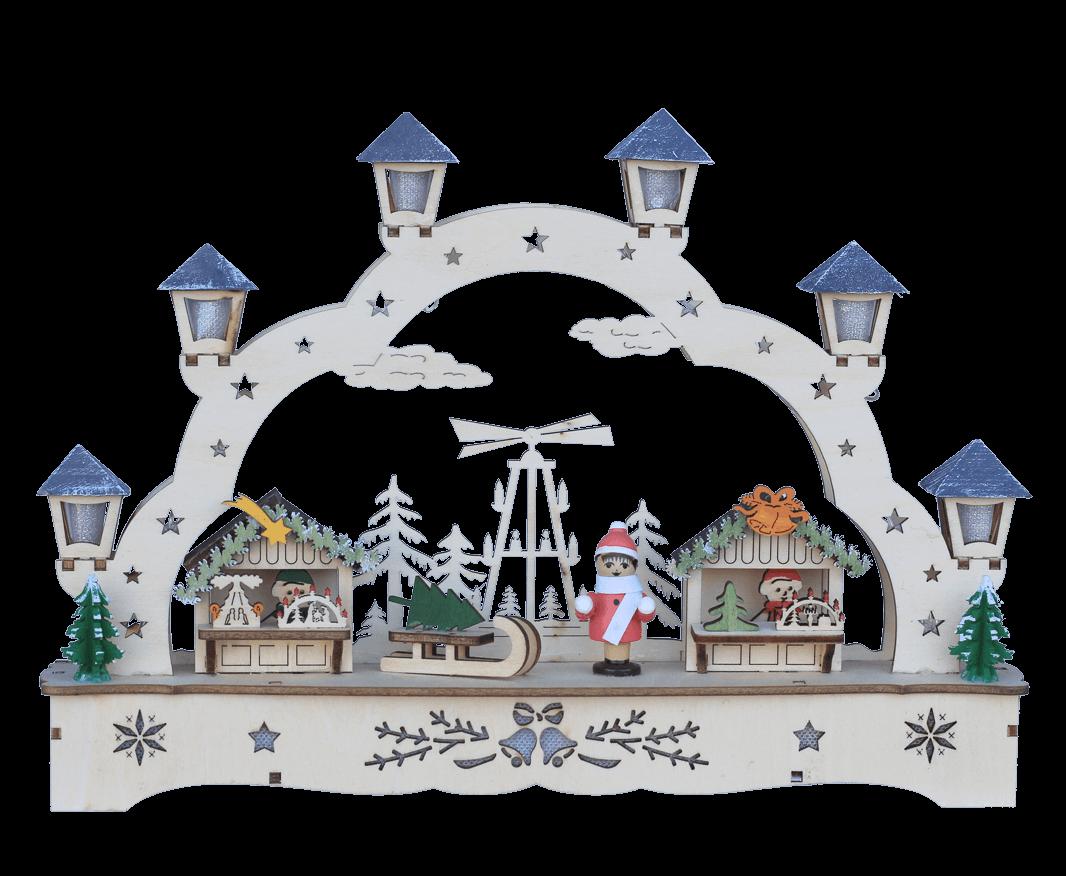Weihnachtsleuchter Schwibbogen Weihnachtsmarkt - 28x5x20 cm - LED