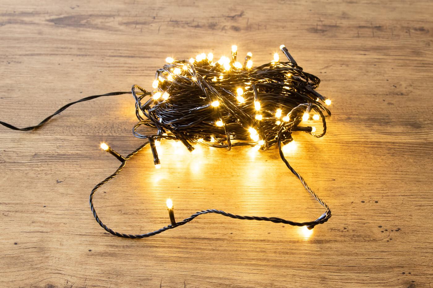 LED Außen Minilichterkette 120 LEDs warmweiß