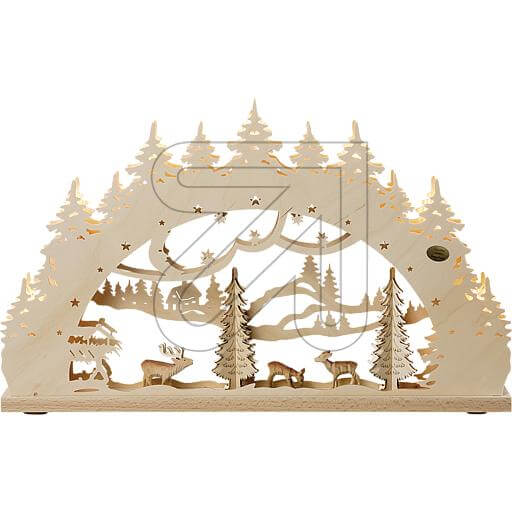 Holz-Schwibbogen 7 flg. 52x32cm Wald mit Tieren Saico LB1180