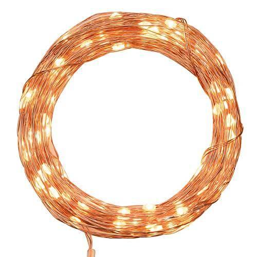 Micro LED-Lichterkette 100 flg. bernsteinfarben Lotti 49475