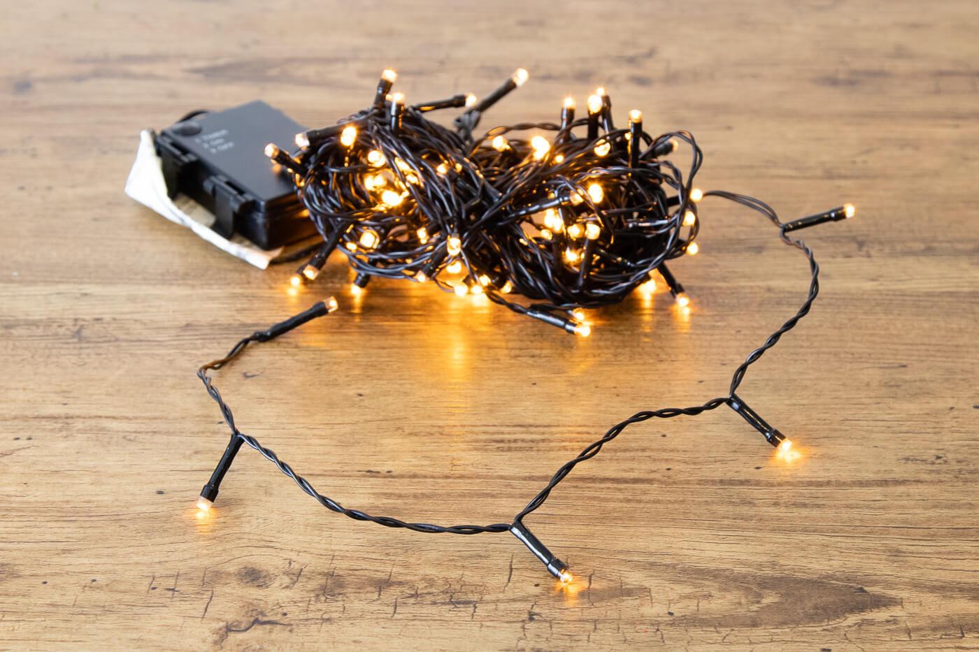 LED-Microlichterkette 96 LEDs bernstein für innen und außen mit Timer-Funktion