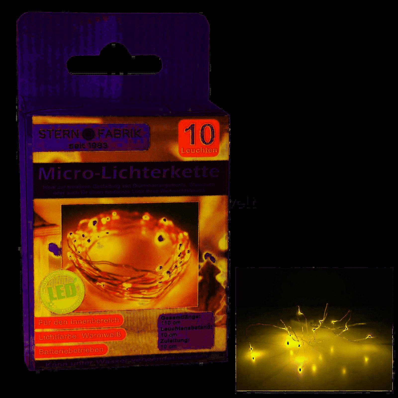 LED Lichterkette Mikro, 10 Mikro-LED 105cm warmweiß