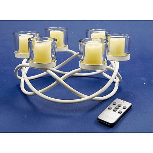 LED Kerzenständer weiß 38653