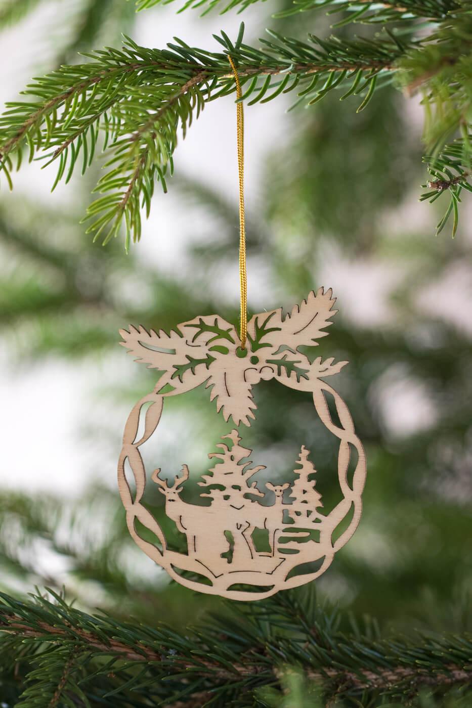 Weihnachtsbaumschmuck Hirsch Holz 8cm 4er Set
