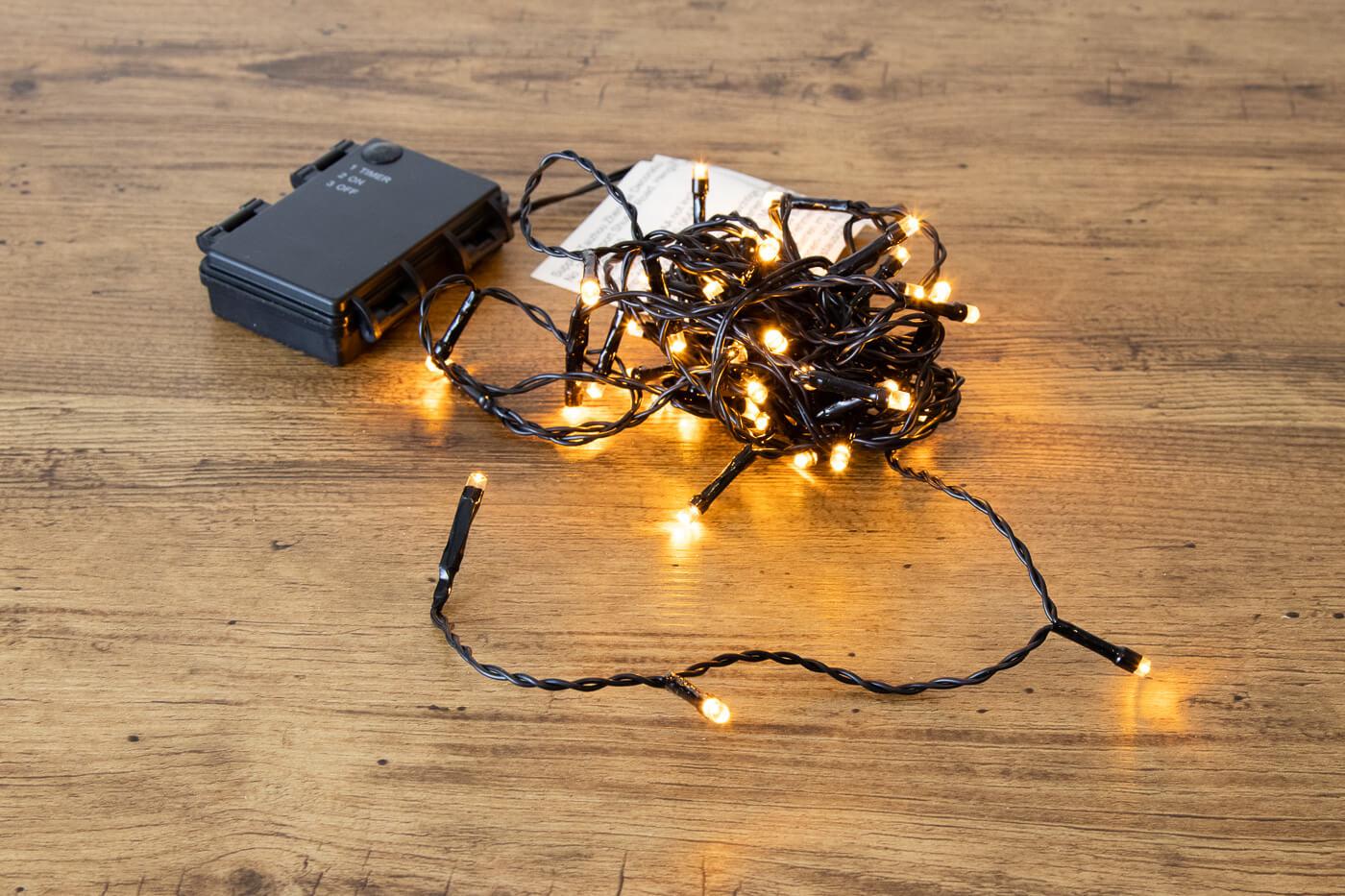 LED-Microlichterkette 48 LEDs bernstein für Aussen mit Batteriebetrieb