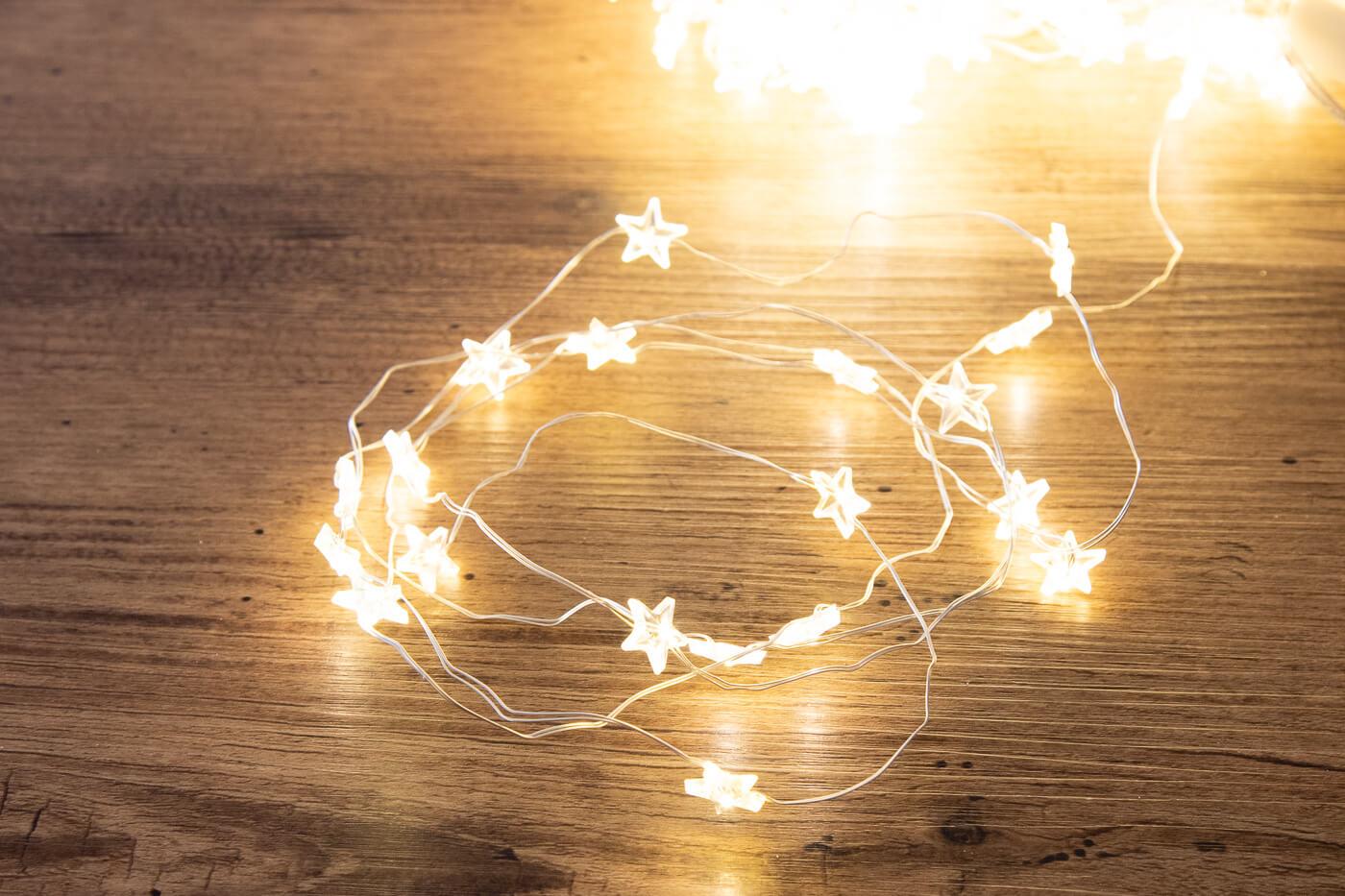 LED-Micro-Bündel-Lichterkette mit Sternen 200 warmweiss
