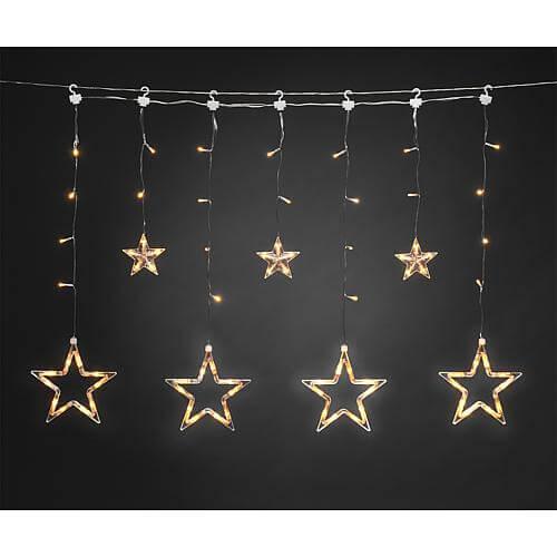 LED Lichtervorhang mit Sternen 77 bernsteinf. LED 4046-803