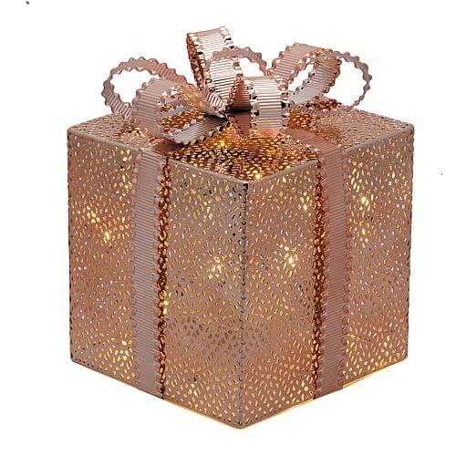 LED Geschenkpaket kupferfarben 21,5cm 49901