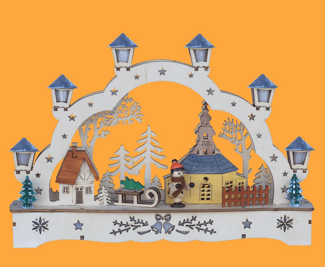 Weihnachtsleuchter Schwibbogen Seiffen 28x5x20 cm LED