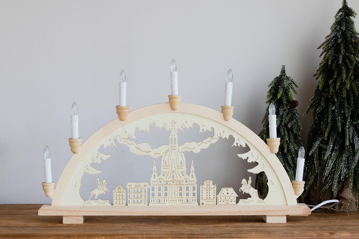 "Holz-Schwibbogen ""Dresden Frauenkirche"" 57x36 cm"