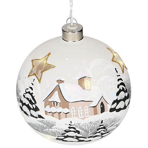 LED-Glaskugel 'Winterlandschaft' weiß 43001