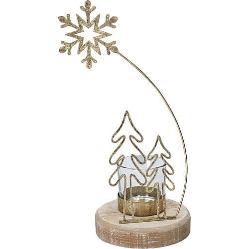 Teelichthalter Baum goldfarben 01459
