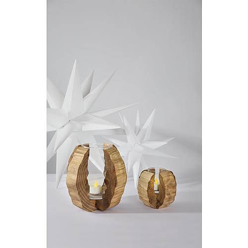 Windlicht mit Glaseinsatz und Holzrahmen zur Dekoration 12x12x11,5cm 19227