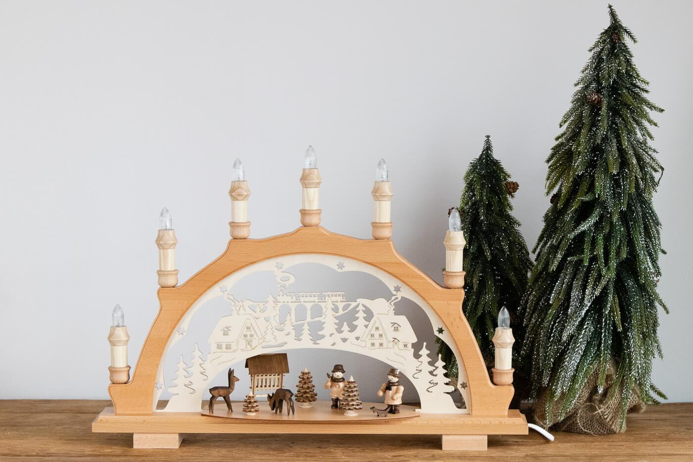 Schwibbogen Waldarbeiter Lenk&Sohn 51738 7flg. 49x39cm