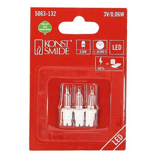 LED Ersatzbirne 3V 0,06W warmweiss Konstsimde 5063-132 3er Pack