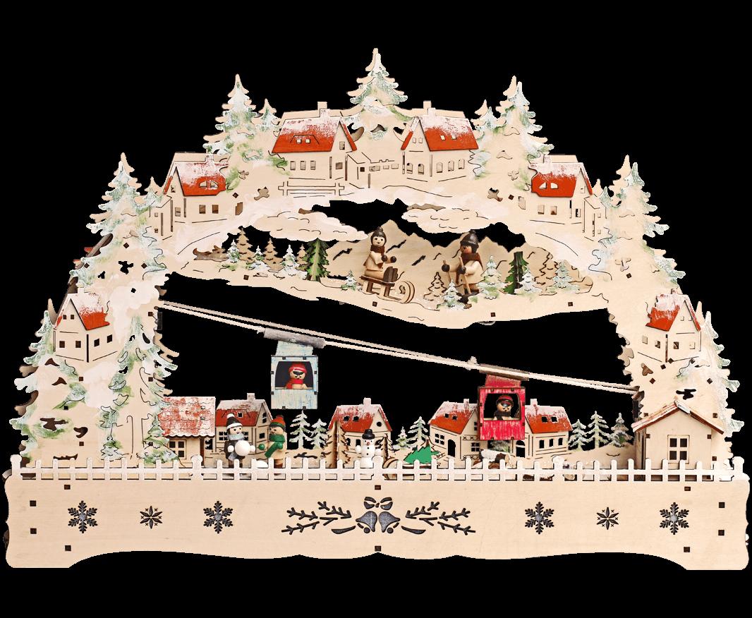 Weihnachtsleuchter 20 LED ca. 57*39 cm. mit innenbeleuchteten Gebäuden und Skilift incl. Trafo