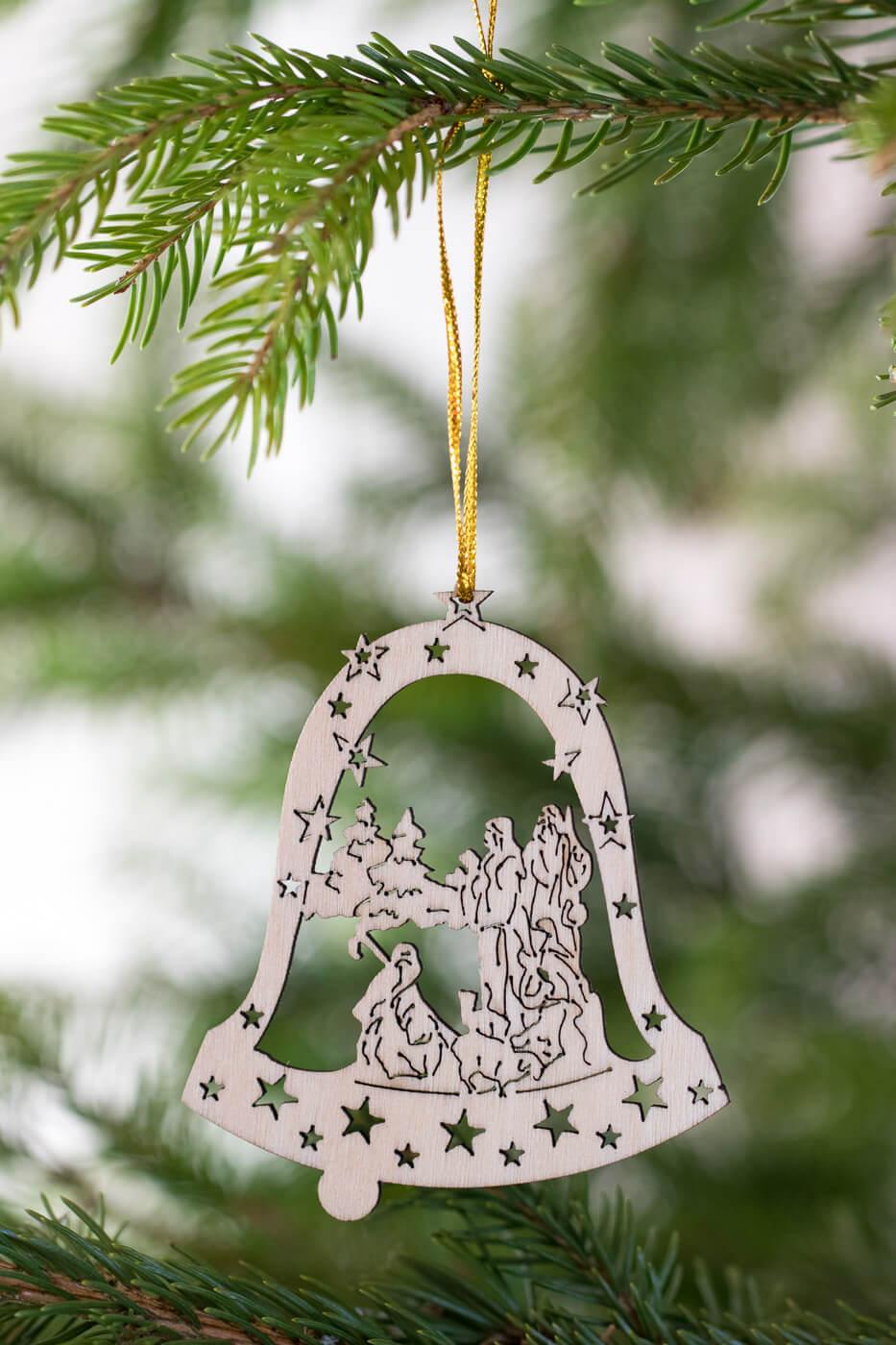 Baumschmuck Hirten in Glocke 8cm aus Holz 4er Set