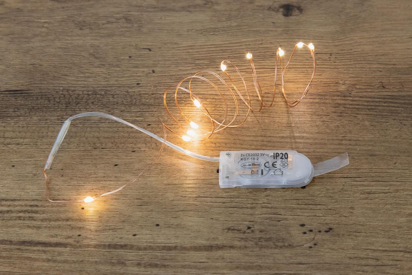 LED-Microlichterkette 10 LEDs warmweiß 45316