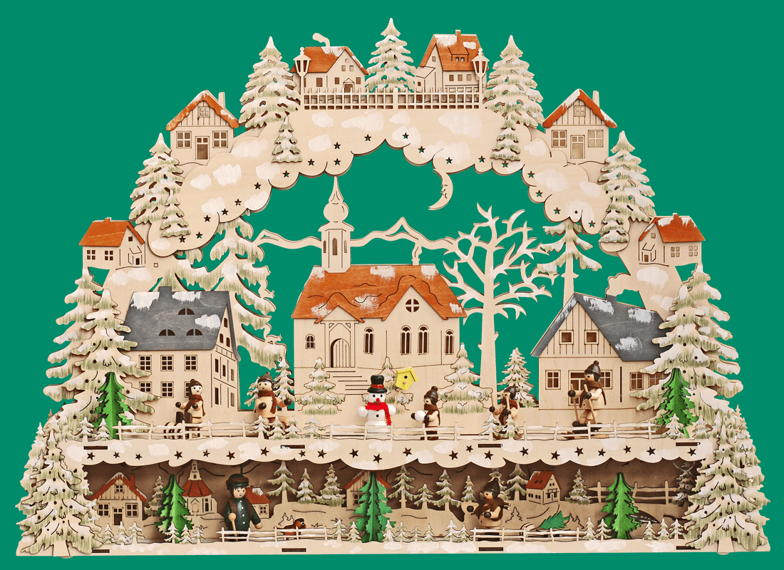 Lichterbogen Dorfkirche - Kinder - Schneemann - Förster  ca. 64*44 cm