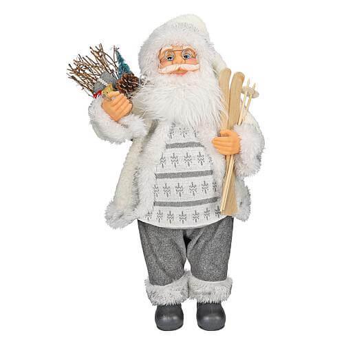 Weihnachtsmann stehend grau-weiss 60cm 73768
