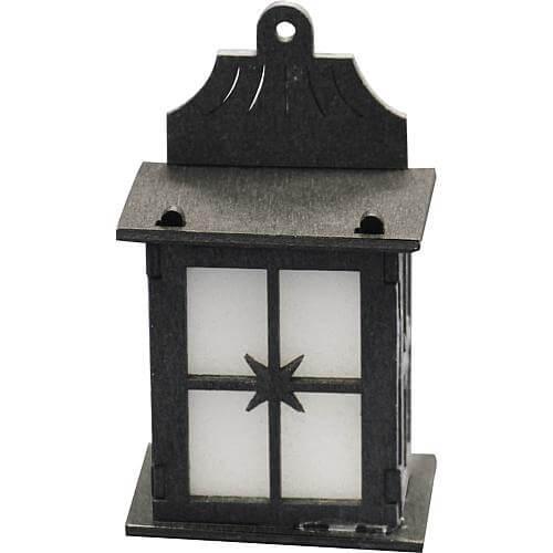 LED-Holzlaterne 5,5cm schwarz