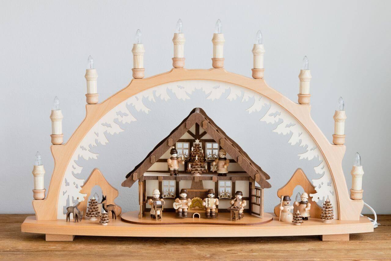 lenk-Sohn-41143-Schwibbogen-10-Kerzen-Hutenstube-echt-original-erzgebirge-weihanchtsdeko